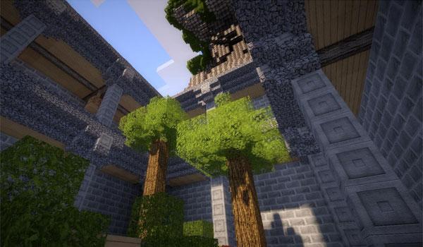 imagen de dos árboles dentro de una esdificación, que usa las texturas life hd 1.8