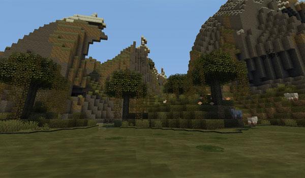 imagen de una zona pantanosa de Minecraft, con las texturas del pack pixel reality 1.12 y 1.11.