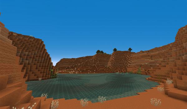 """imagen del bioma """"Mesa"""" usando el pack de texturas pixel reality 1.12 y 1.11."""