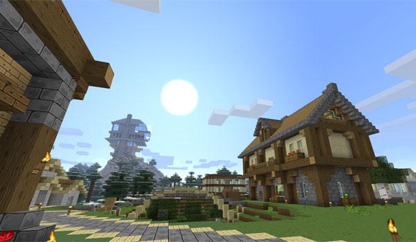 imagen de una pequeña villa de Minecraft, usando las texturas del pack sixtygig 1.7.2.