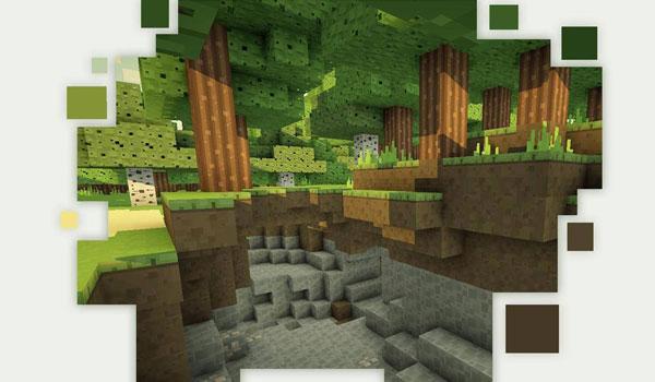 imagen de un bosque junto al cual hay una entrada a una cueva, ello decorado con las texturas smoothic texture 1.8.