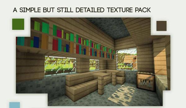 imagen del interior de una de las casas de los aldeanos de Minecraft, usando las texturas smoothic 1.8.
