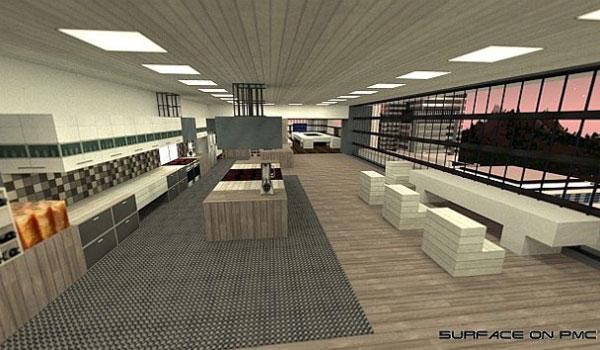 imagen del interior de un piso moderno y minimalista usando las texturas urbancraft 1.7.2.