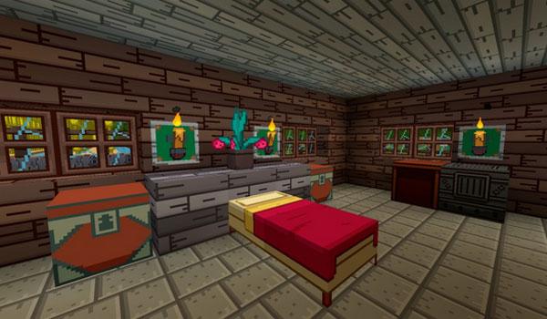 imagen del interior de una vivienda, usando las texturas de Hora de Acenturas, Adventure Time Craft 1.7.2.