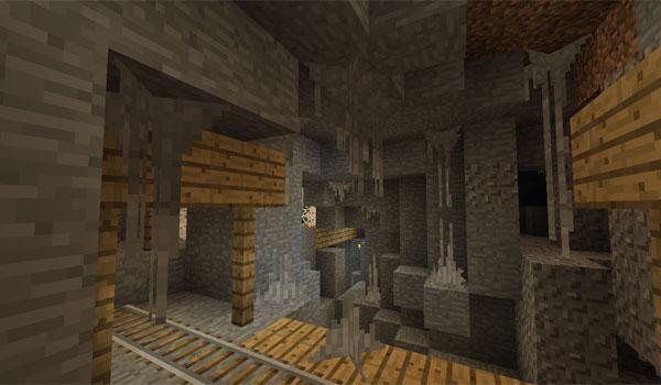 imagen donde vemos el interior de una de las cuevas que añade el mod, wildcaves 3 para minecraft 1.7.2 y 1.7.10.