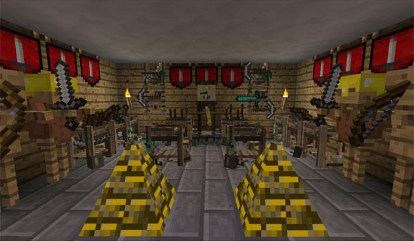 imagen de una habitación con diversos elementos decorativos del mod ye gamol chattels 1.7.2 y 1.7.10.