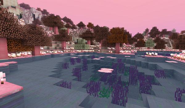imagen de uno de los biomas que encontraremos en la nueva dimensión que añade el mod candycraft 1.7.2 y 1.7.10