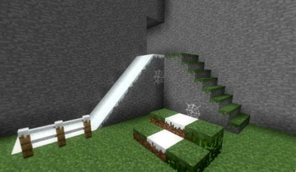 imagen donde vemos una rampa en Minecraft, sin cubos, gracias al mod carpenter's blocks 1.7.2 y 1.7.10.