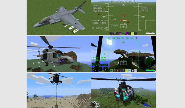 imagen compuesta de seis pequeñas imágenes donde vemos 6 tipos de los aviones y helicópteros que añade el mod mc helicopters 1.7.10 y 1.7.2.