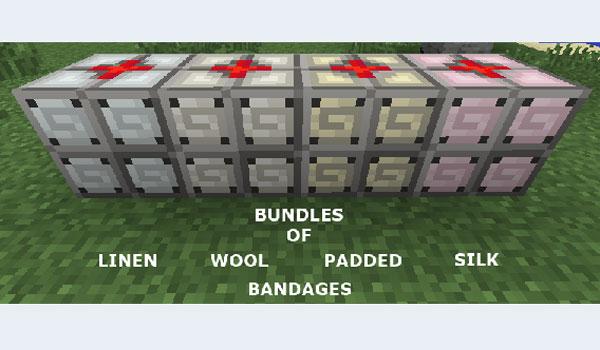 imagen donde vemos los bloques de vendajes curativos que añade el mod mediccraft 1.7.2.