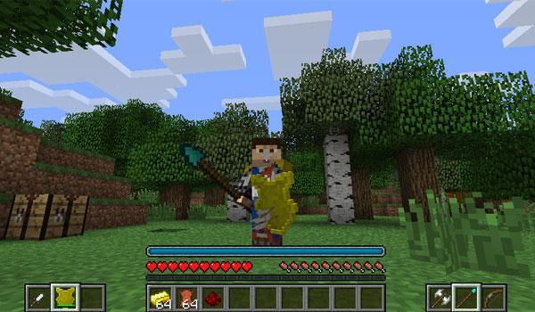 imagen de un personaje con un arma y un escudo, gracias al mod mine and blade 1.7.10 y 1.7.2.