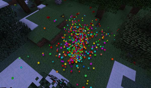imagen donde vemos los nuevos y coloridos orbes de experiencia que añade el mod rainbow xp 1.7.2.