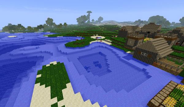 imagen donde vemos los nuevos lugares donde aparecerán las aldeas, usando el mod new dawn 1.7.2 y 1.7.10.