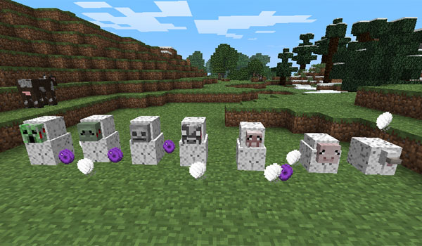 imagen donde vemos varios animales y enemigos capturados en los capullos que lanza la reina araña, del mod spider queen 1.7.2 y 1.7.10.