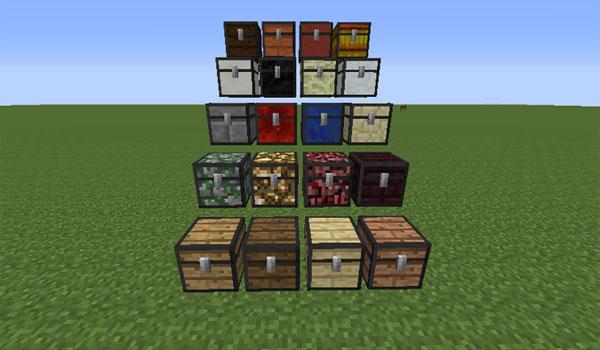 imagen donde vemos los otros materiales que podemos utilizar para crear nuevos cofres, usando el mod chest plus 1.7.2.