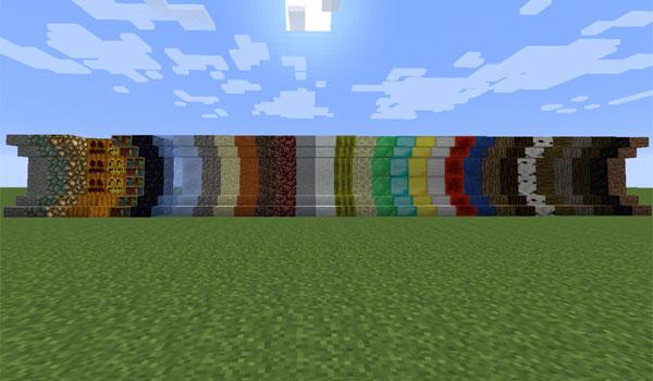 imagen de varios materiales que podremos usar como escaleras, gracias al mod extra stairs 1.7.2.