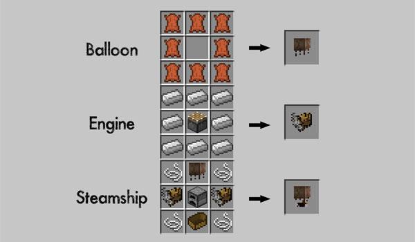 imagen donde podemos ver los crafteos de los objetos del mod Pchan3's Airship 1.7.2 y 1.7.10.