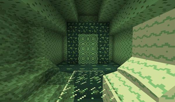 imagen donde vemos las 4 tonalidades de verdes que ofrecen todas las texturas del pack CraftBoy 1.9 y 1.8.