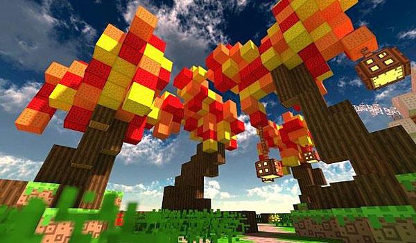 imagen donde vemos unos originales y coloridos árboles de Minecraft, usando las texturas dreams of drean 1.8.