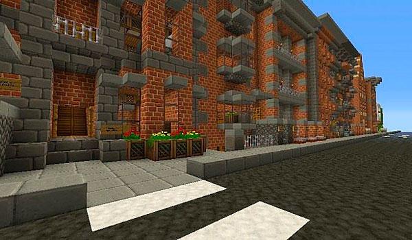 imagen de una calle, donde vemos una carretera y una casa. Creado con las texturas equanimity 1.12 y 1.11.