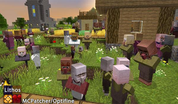 imagen de un poblado lleno de aldeanos, utilizando las texturas lithos 1.11 y 1.10.