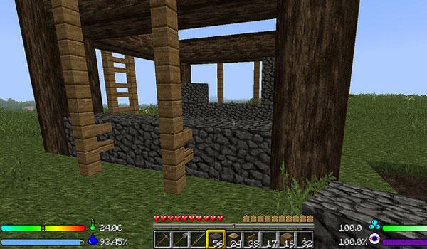 imagen donde vemos los nuevos parámetros que el mod enviromine 1.7.10 y 1.7.2, añade a la pantalla de juego.
