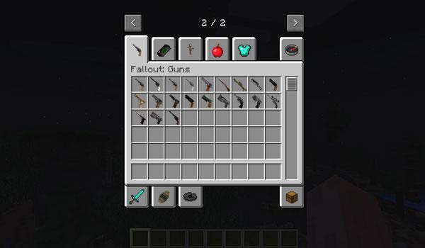 imagen donde vemos algunas de las armas que agrega el mod the fallout 1.7.10.