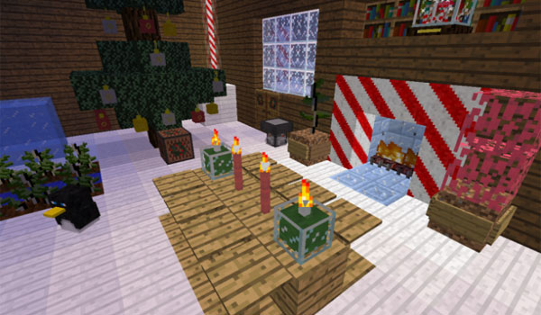 imagen donde podemos ver como ejemplo, diversos artículos navideños de decoración, gracias al mod christmas festivities 1.7.10.