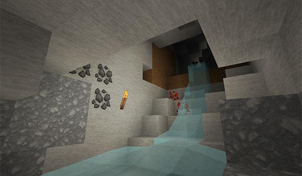 imagen del interior de una cueva con las texturas del pack invictus 1.12 y 1.11.