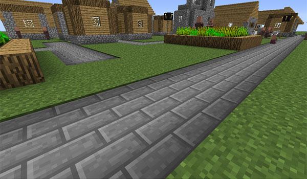 imagen de ejemplo donde vemos una carretera construida en Minecraft, gracias al mod roadblocks 1.8.
