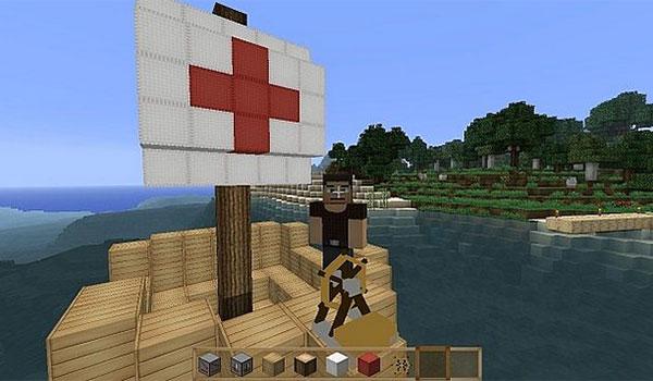 imagen donde vemos un barco navegando en Minecraft, gracias al mod ships 1.7.10.