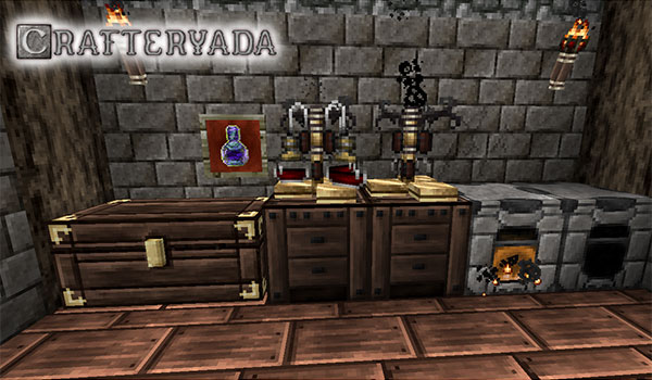 imagen donde vemos diversos objetos como cofres y hornos usando las texturas del pack crafteryada 1.12 y 1.11.
