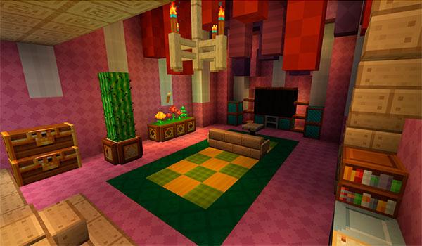 imagen del interior de una vivienda en Minecraft, decorada con el paquete de texturas Frenden's Meringued Cartoon 1.9 y 1.8.