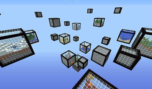 imagen general donde podemos ver todos los cubos que hay en el mapa de supervivencia micro cubes 1.8.