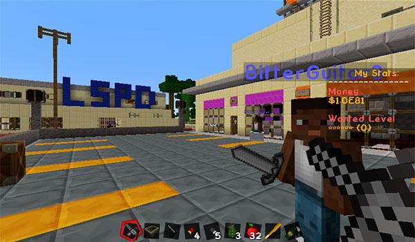 Ejemplo de varios edificios creados usando el paquete de texturas mine theft auto 1.8.