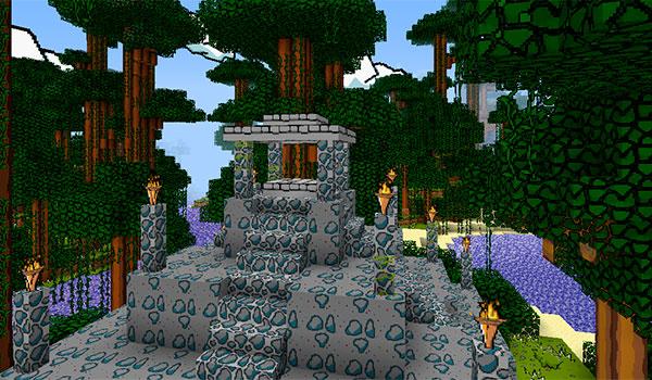 imagen donde vemos un templo en la jungla de Minecraft, decorado con las texturas The Scribblenauts 1.10.