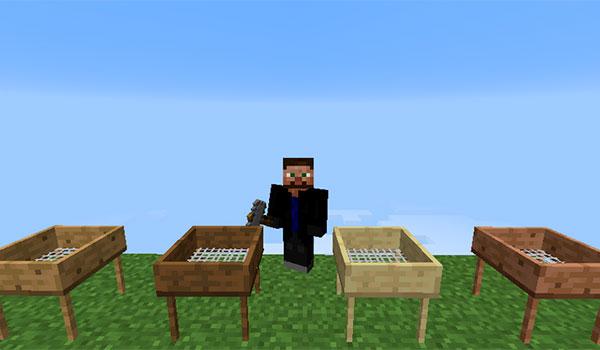 imagen donde vemos a un jugador usando las cribas que añade el mod ex nihilo 1.7.10 y 1.7.2.