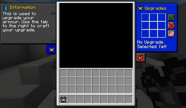 imagen donde podemos ver la interfaz gráfica que nos permite mejorar las armaduras del mod mocular armour 1.7.10.