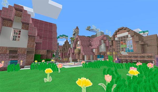 imagen de un poblado de Minecraft, decorado con las texturas pencil pack 1.8.