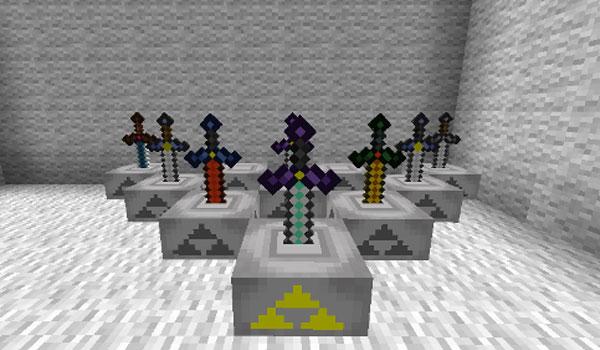 imagen de varias espadas colocadas en los pedestales del mod zelda sword skills 1.8.9.