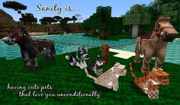 imagen donde podemos ver gatos, perros y caballos de Minecraft, decorados con las texturas alvoria's sanity 1.10 y 1.9.
