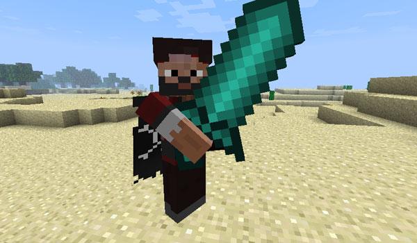 un jugador mostrando una gran espada, del mod better dungeons mod 1.7.2 y 1.7.10.