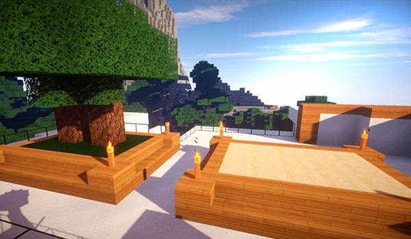 imagen de una terraza con árboles, usando las texturas serinity hd 1.8.