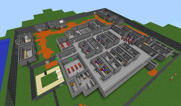 imagen superior de la cárcel donde está encerrado nuestros personaje, en el mapa the escapists 1.8.