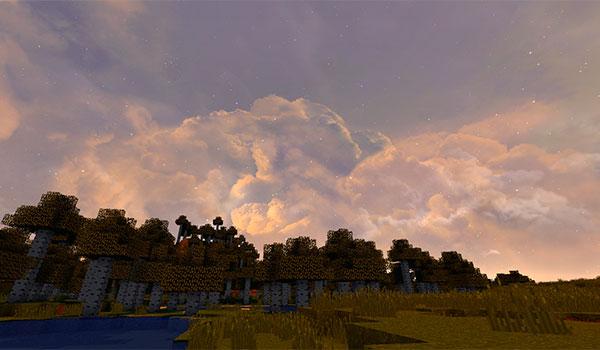 imagen de un atardecer en Minecraft, donde vemos los cielos realistas del pack dramatic skys 1.10 y 1.9.