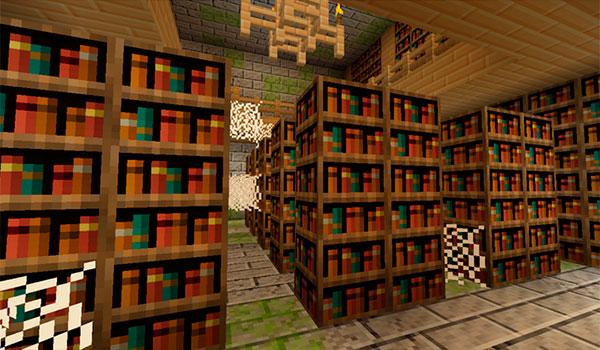 imagen del interior de una biblioteca abandonada. Decorada con las texturas jehkoba's fantasy 1.9 y 1.8.