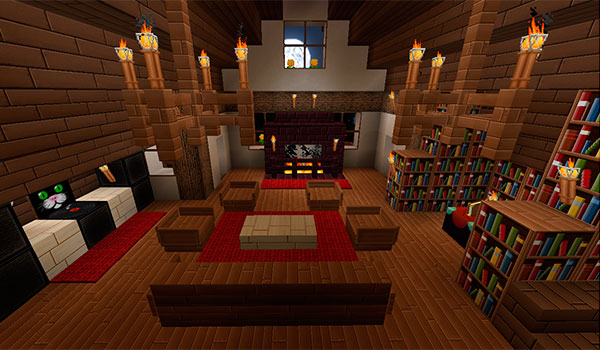 imagen donde podemos ver el aspecto de las texturas de Marvelouscraft 1.11 y 1.9, en el interior de una vivienda en Minecraft.