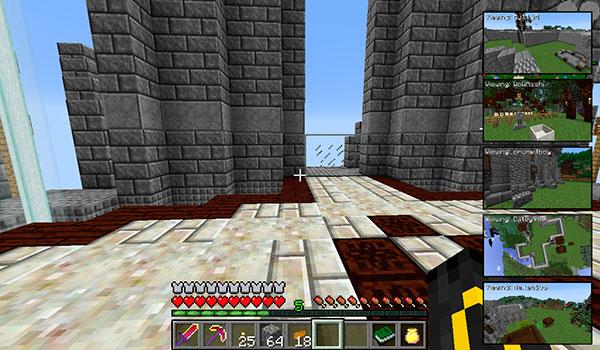 imagen donde podemos ver como podemos visualizar varias pantallas de nuestros amigos en Minecraft, gracias mod Picture-in-Picture 1.8.