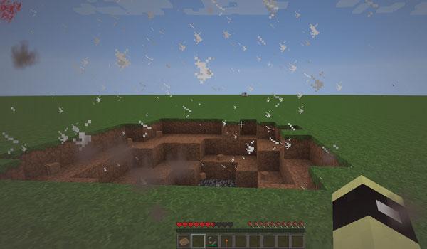 imagen donde podemos ver el efecto de polvo en el aire, tras una explosión, con el mod realistic pain 1.7.2 y 1.7.10.
