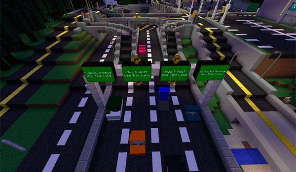 imagen donde vemos una carretera de hasta 6 carriles, donde circulan los vehículos del mod vehicular movement 1.7.10.